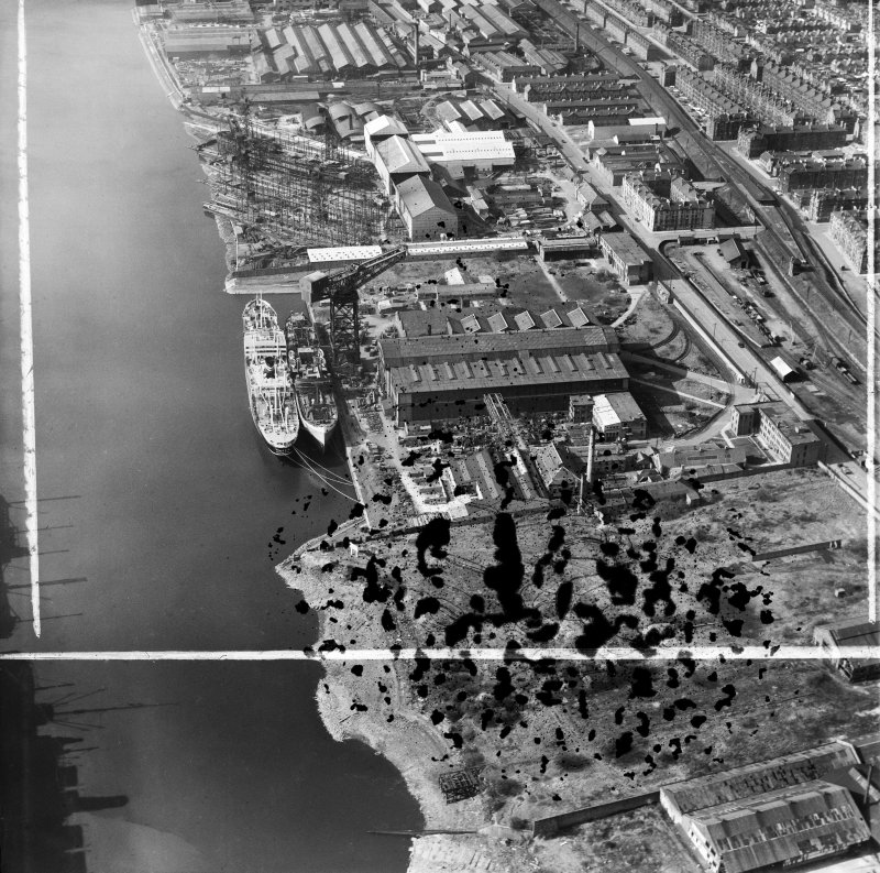 Barclay, Curle and Co, Ltd, north British Diesel Engine Works,  Whiteinch, Govan, Lanarkshire, Scotland, 1950. Oblique aerial photograph taken facing north-west.  This image has been produced from a damaged and crop marked negative.