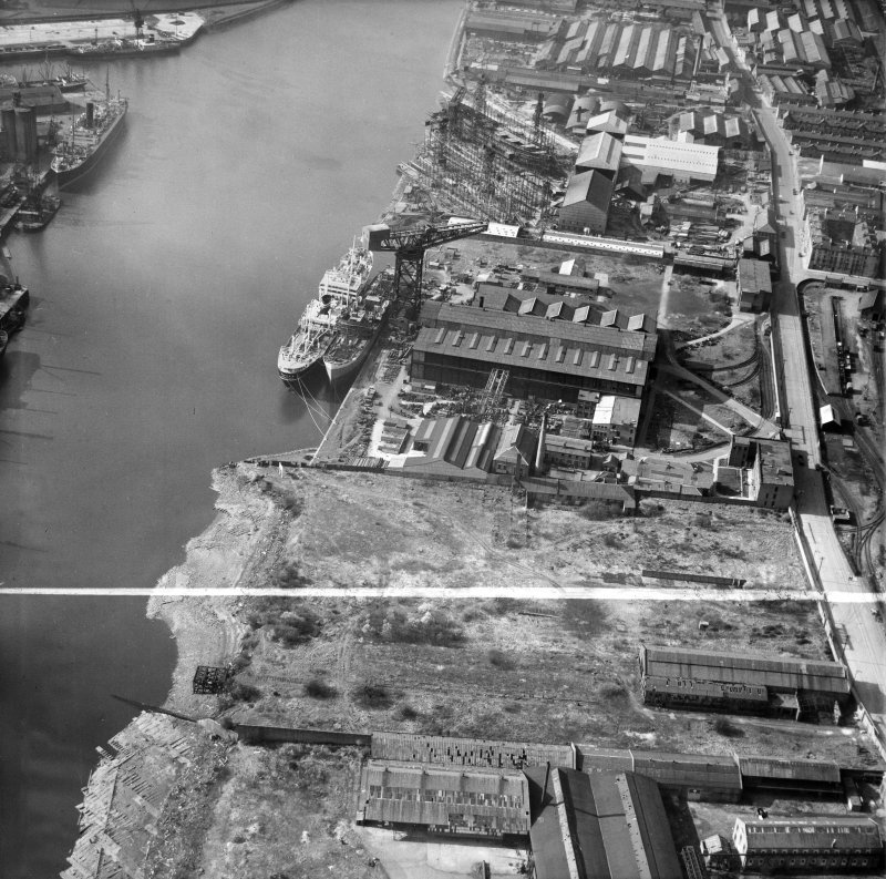 Barclay, Curle and Co, Ltd, north British Diesel Engine Works,  Whiteinch, Govan, Lanarkshire, Scotland, 1950. Oblique aerial photograph taken facing north-west.  This image has been produced from a crop marked negative.