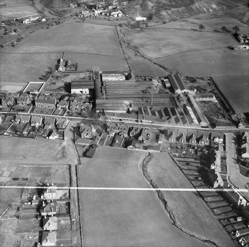 Cruikshank and Co, Ltd, Denny Iron Works, Mydub, Denny, Stirlingshire, Scotland, 1950. Oblique aerial photograph taken facing east.  This image has been produced from a crop marked negative.