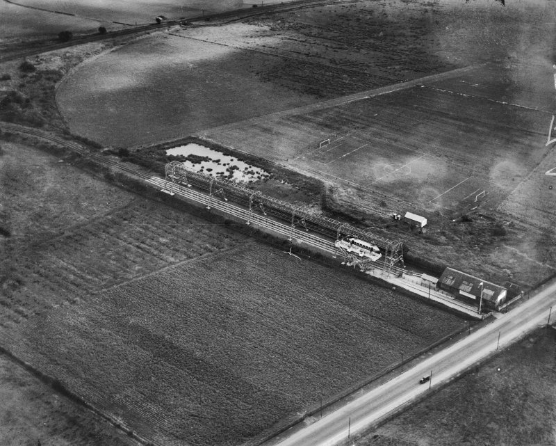 George Bennie Railplane test track, Milngavie, New Kilpatrick, Dunbartonshire, Scotland, 1930. Oblique aerial photograph taken facing south-east.  This image has been produced from a marked negative.