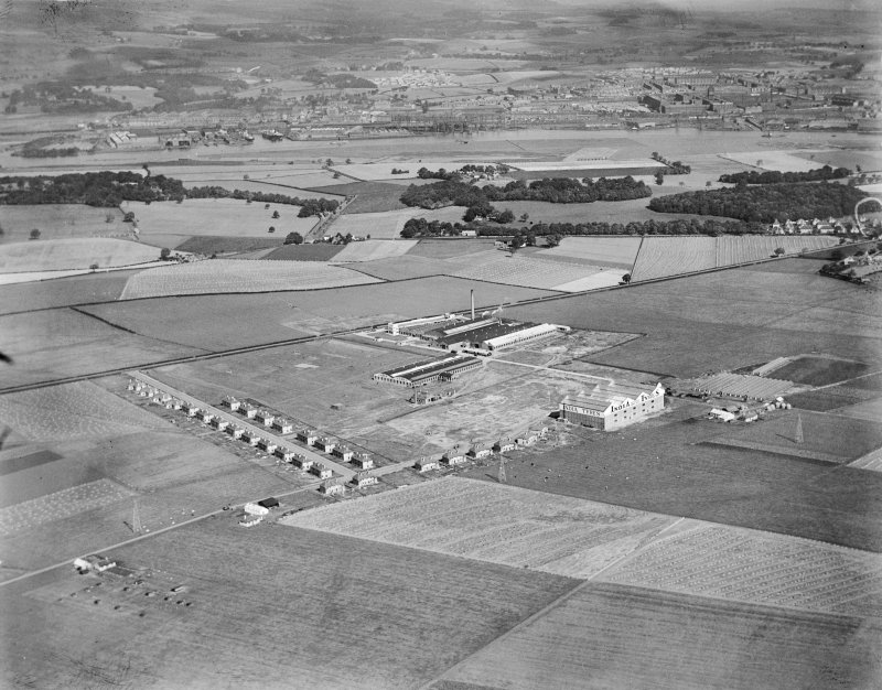 India Tyre and Rubber Co. Factory, Greenock Road, Inchinnan, Renfrew, Lanarkshire, Scotland, 1930.  Oblique aerial photograph taken facing north-east.
