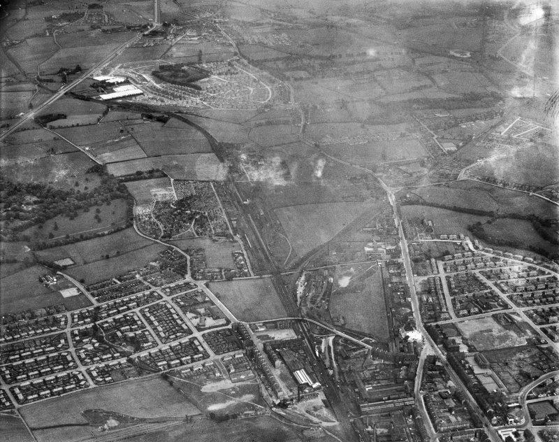 General view, Springboig, Glasgow, Lanarkshire, Scotland, 1937. Oblique aerial photograph, taken facing east.