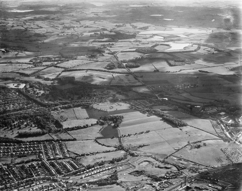 General view, Thornliebank, Eastwood, Lanarkshire, Scotland, 1937. Oblique aerial photograph, taken facing south-west.