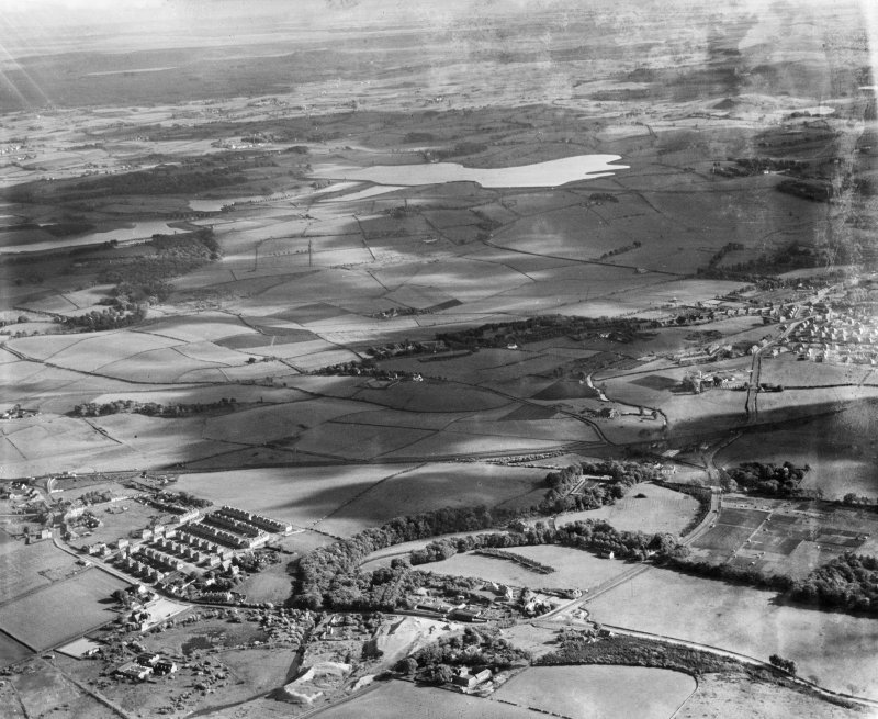 General view, Dovecothall, Paisley, Renfrewshire, Scotland, 1937. Oblique aerial photograph, taken facing south.