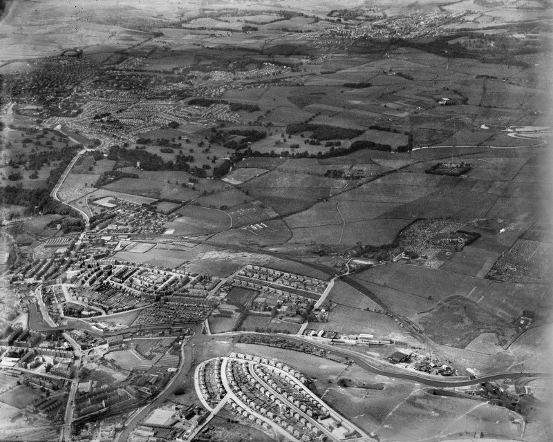 General view, Lambhill, Glasgow, Lanarkshire, Scotland, 1937. Oblique aerial image, taken facing north.