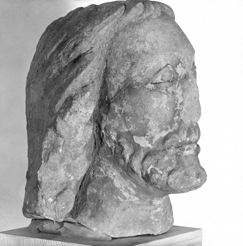 Carved head of Christ.