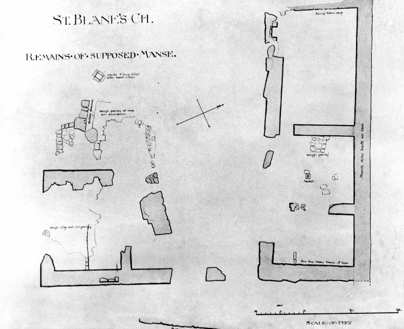 Photographic copy of plan showing 'remains of supposed manse.'