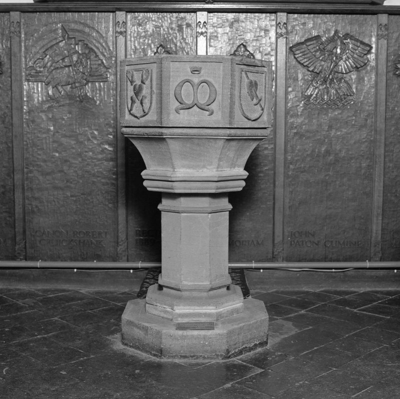 Font from Kinkell Old Parish Church now in St John's Episcopal Church, Aberdeen. General view.