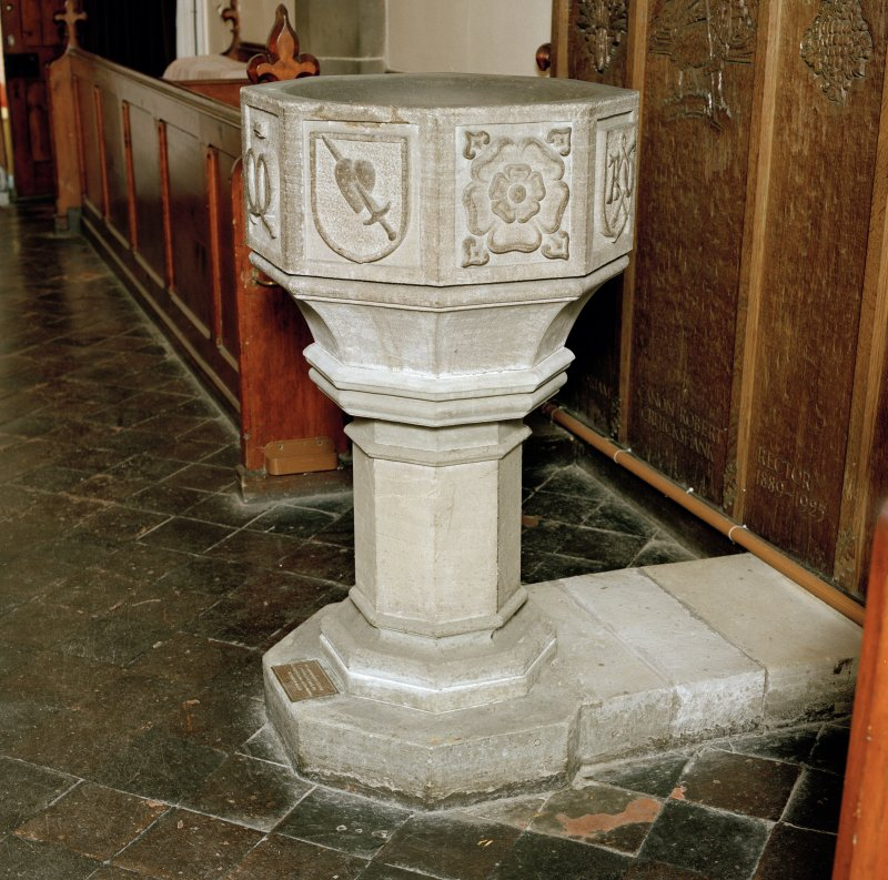 Font from Kinkell Old Parish Church now in St John's Episcopal Church, Aberdeen. Side view.