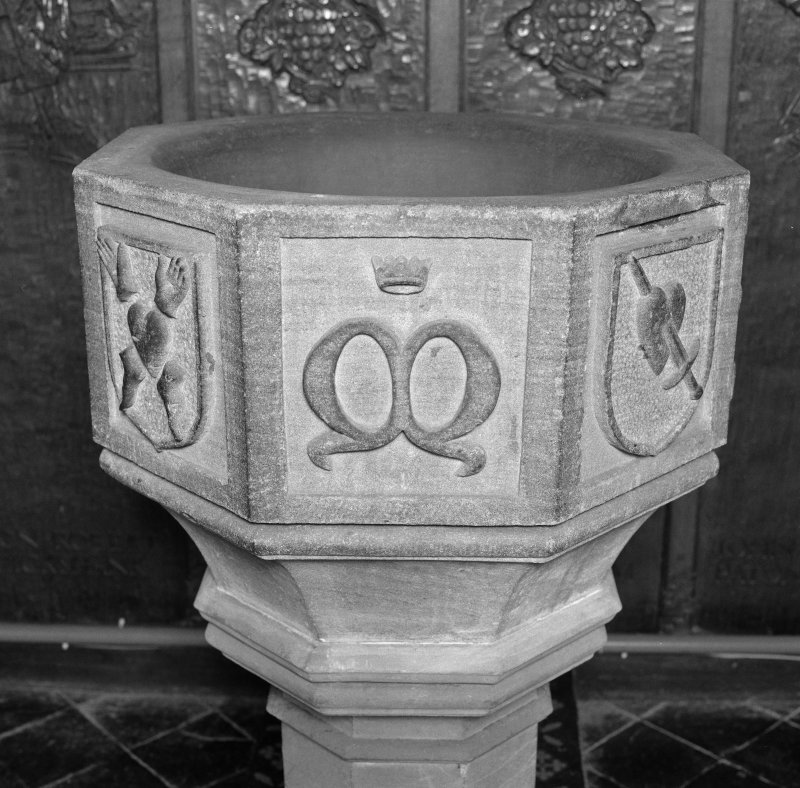Font from Kinkell Old Parish Church now in St John's Episcopal Church, Aberdeen. Detail of panel displaying the initial M, surmounted by a crown.
