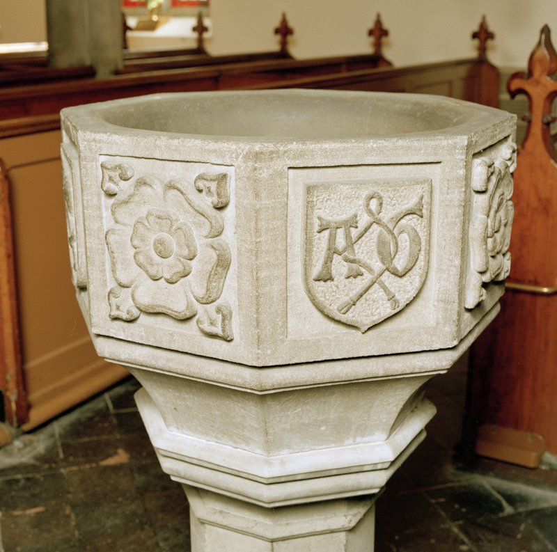 Font from Kinkell Old Parish Church now in St John's Episcopal Church, Aberdeen. Detail of panels displaying a) a rose, and b) a shield charged with the linked initials A G, for Alexander Galloway.