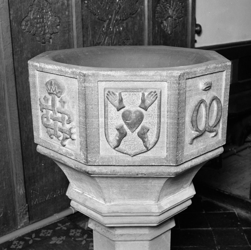 Font from Kinkell Old Parish Church now in St John's Episcopal Church, Aberdeen. Detail of panel displaying the Five Wounds.