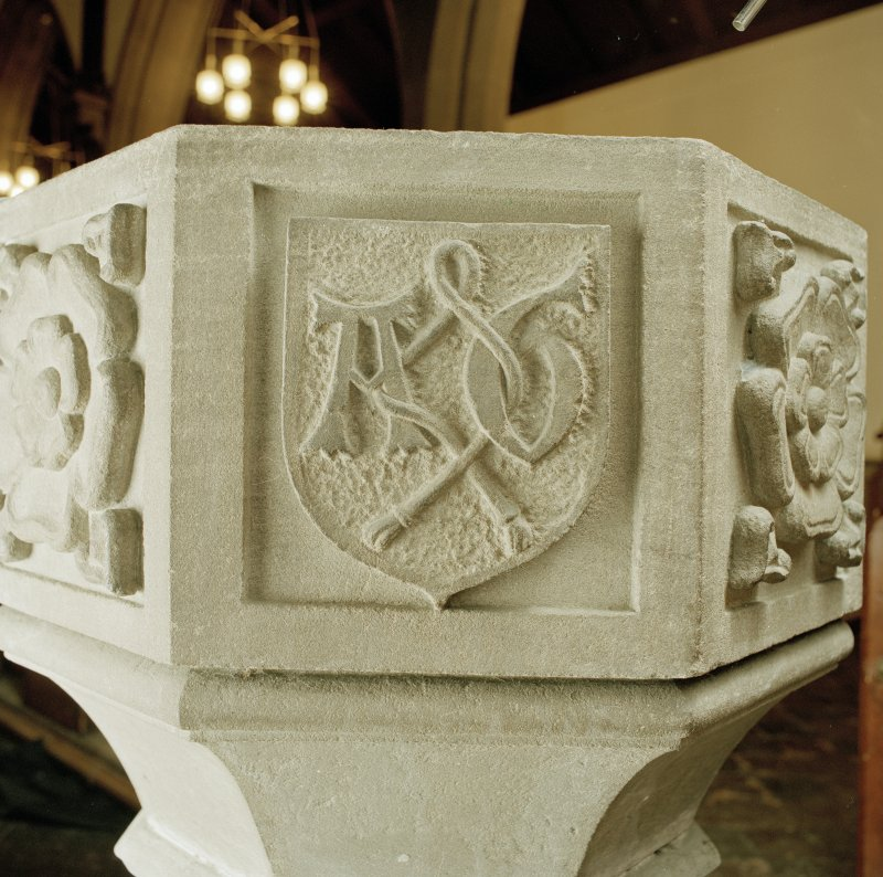 Font from Kinkell Old Parish Church now in St John's Episcopal Church, Aberdeen. Detail of panel bearing a shield charged with the linked initials A G, for Alexander Galloway.