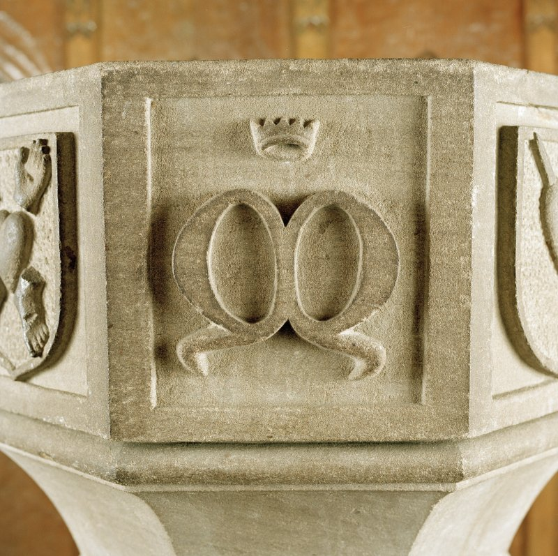 Font from Kinkell Old Parish Church now in St John's Episcopal Church, Aberdeen. Detail of panel bearing the crowned initial M.