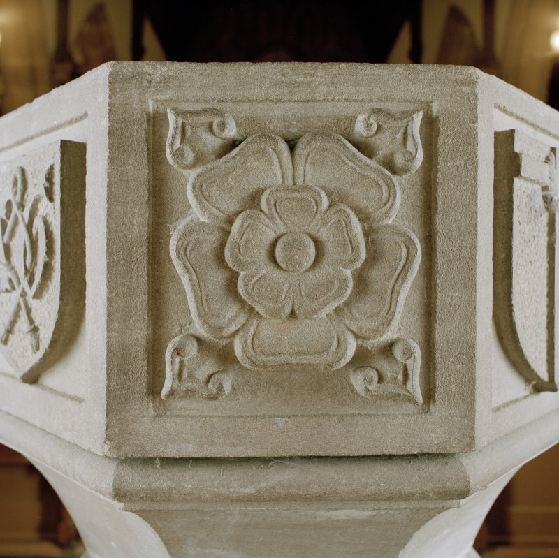 Font from Kinkell Old Parish Church now in St John's Episcopal Church, Aberdeen. Detail of panel bearing a rose.