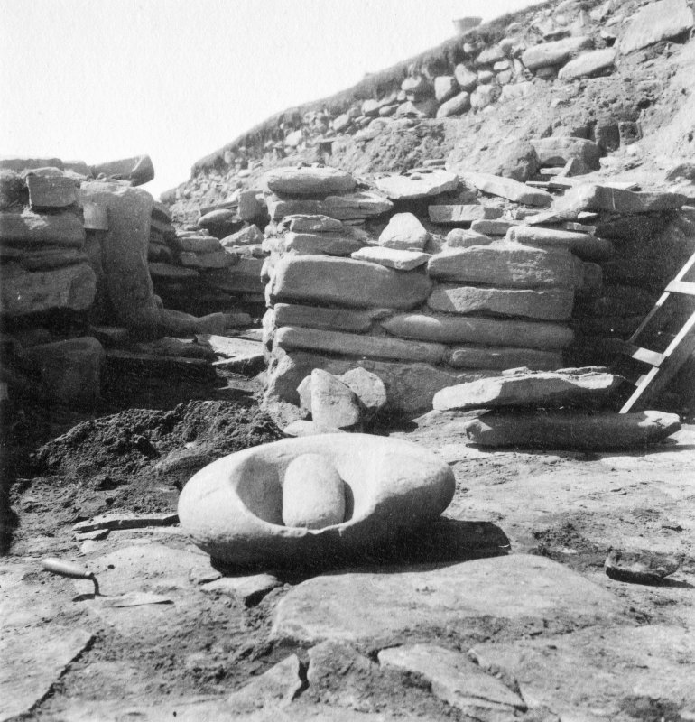 View of a saddle quern at Jarlshof.