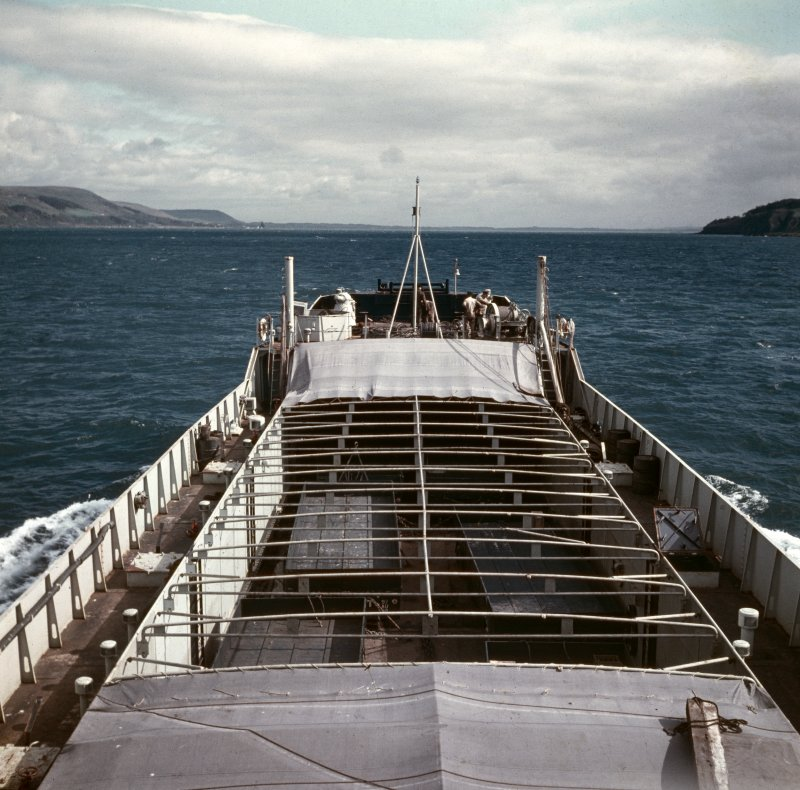 View of landing craft en route to St Kilda, probably in the Firth of Clyde.