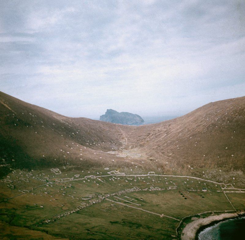 General view of Village Bay, St Kilda. The tents of the advance party of RAF Operation Hardrock are visible.