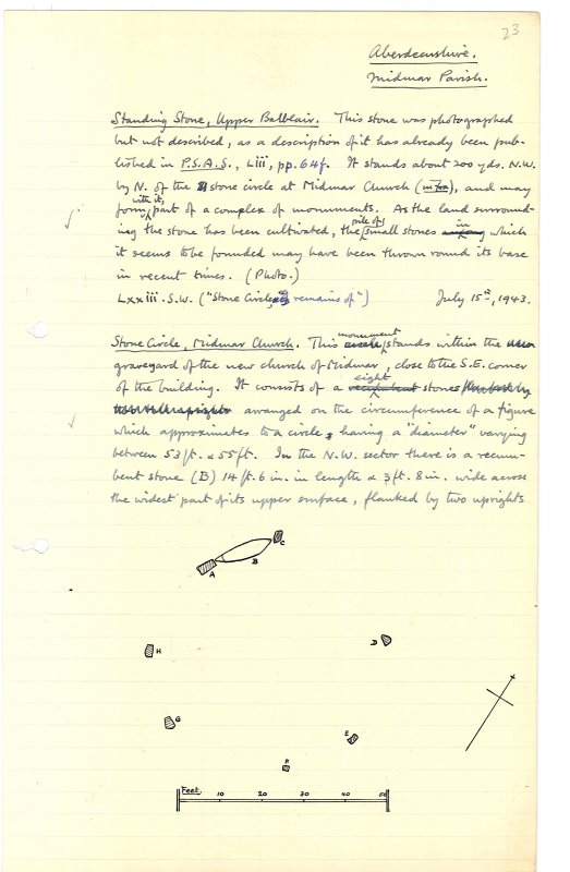Extract from manuscript (MS 36) showing a sketch plan of the stone circle at Midmar Church. Scanned image.