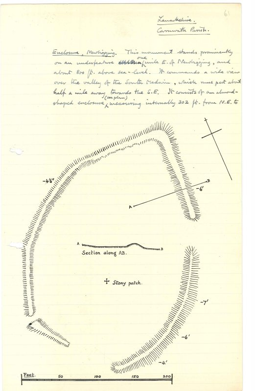 Sketch plan and section of the henge at Weston. Scanned image from MS 36.