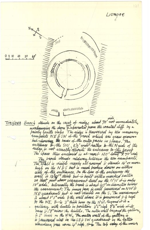 Sketch plan of Tirefour broch. Scanned image from MS 36.