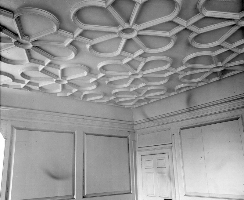 Stobhall. Ceiling of N room on 1st floor of Dowery House.
