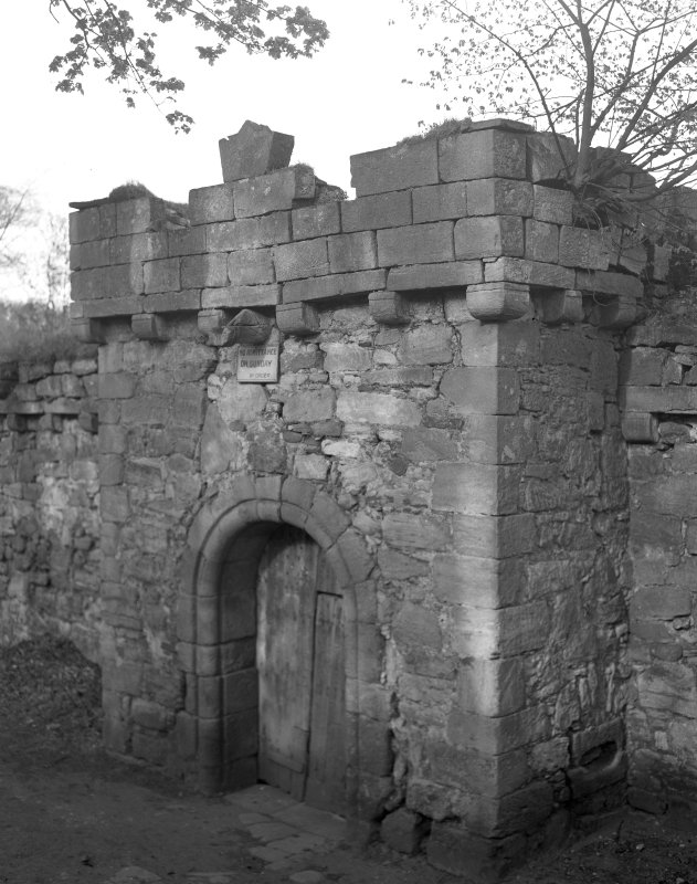 Craignethan Castle. View of central gate in South-West wall.