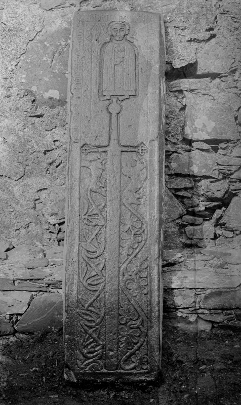 Oronsay grave slab to Canon Bricius MacDuffie and his father.