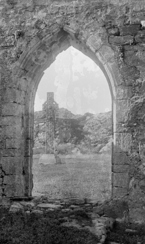 Iona. St Martin's Cross through west door of the Abbey.