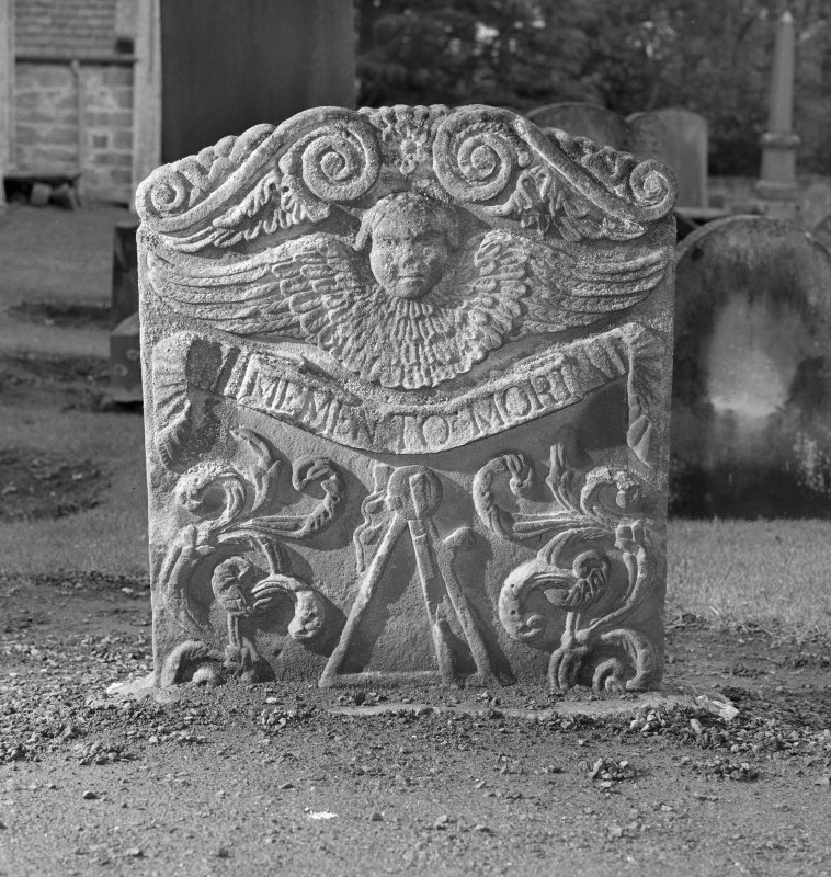 View of grave stone from Abercorn Parish Church. Used as a 'test shot' from Tom E. Gray.