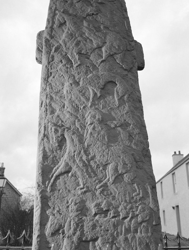 View of central detail of reverse of Fowlis Wester Pictish cross slab.