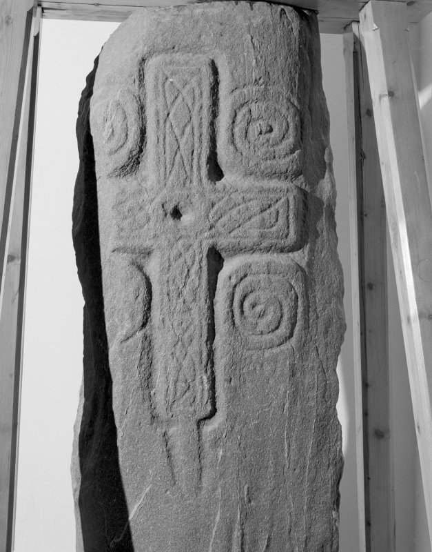 View of face of Pictish cross slab from Alyth High Kirk.