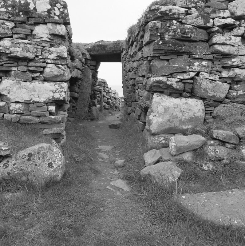 View of entrance to Carn Liath broch.
