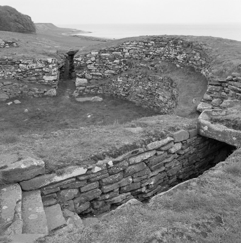 View of interior of Carn Liath broch.