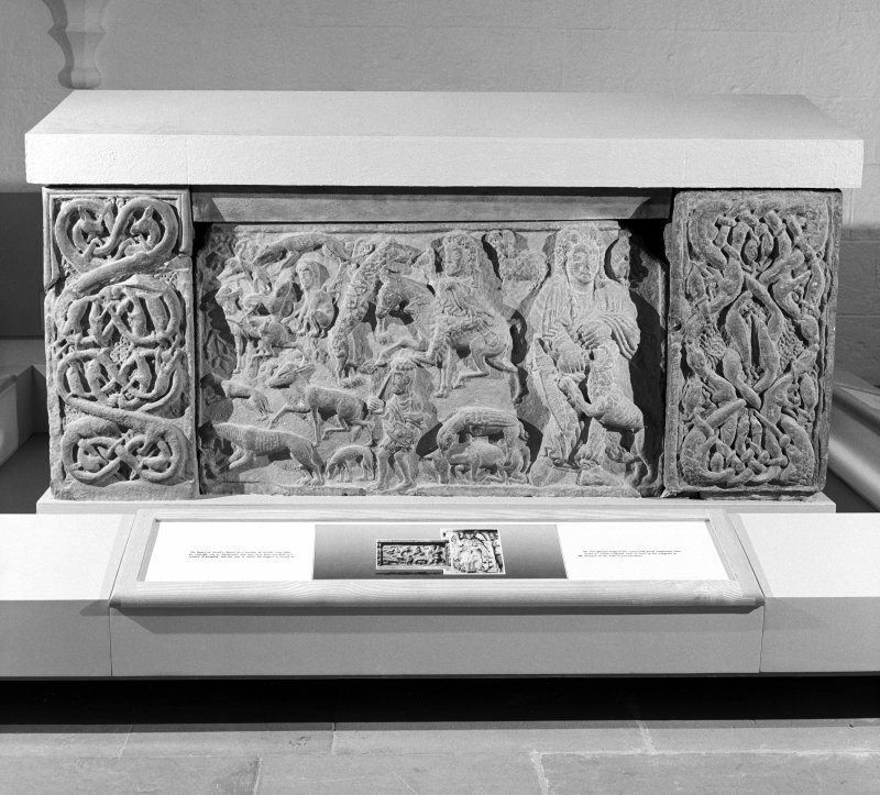 View of front panel of St Andrews sarcophagus.