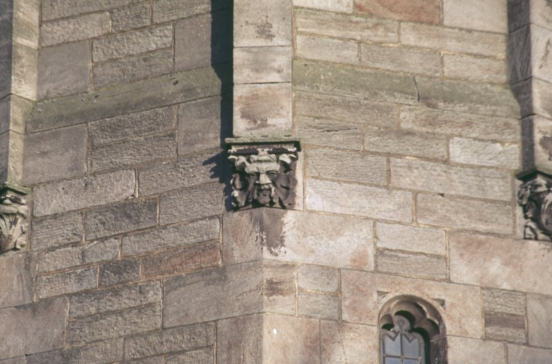 View of carved green man on church tower, Crail Parish Church.