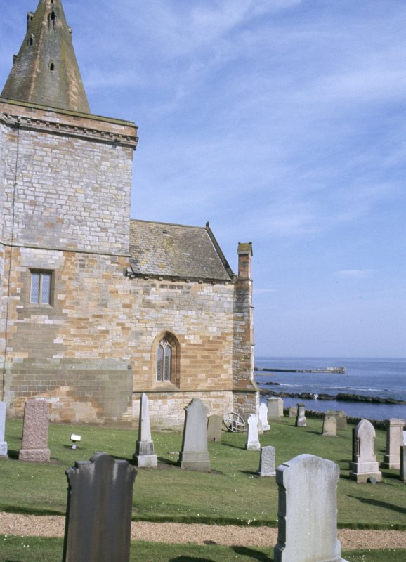 General view of St Monans Church and burial ground.