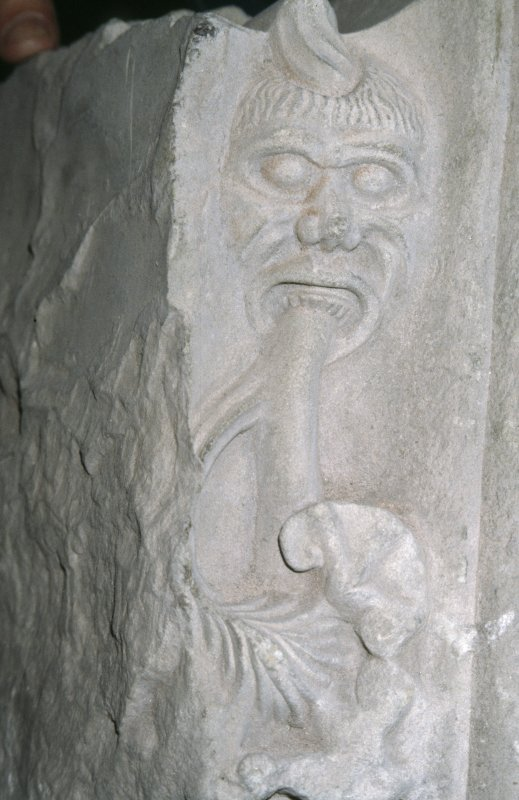 Detail of carving of Green Man, St Andrew's Cathedral museum