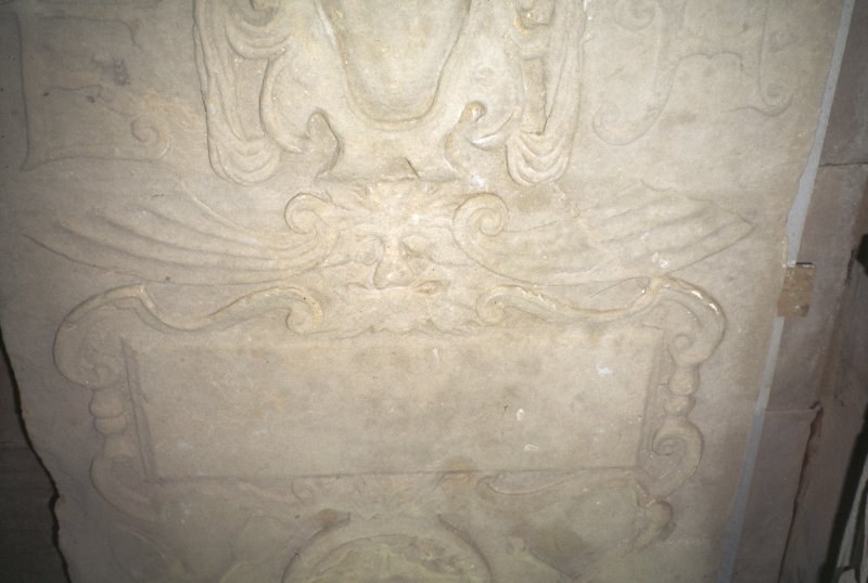 Detail of graveslab with carving of Green Man, St Andrew's Cathedral museum.