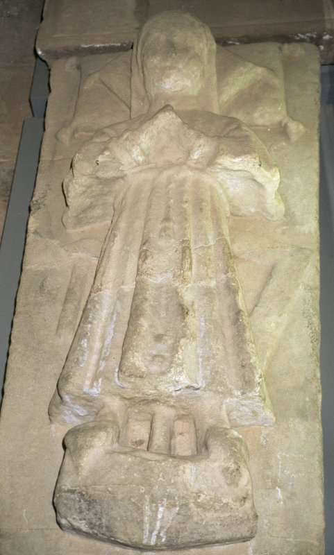 View of tablestone with carved angel, St Andrew's Cathedral museum.