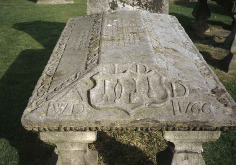 General view of the Judith Nairne  Coped Stone 1646, St Andrew's Cathedral Burial Ground.