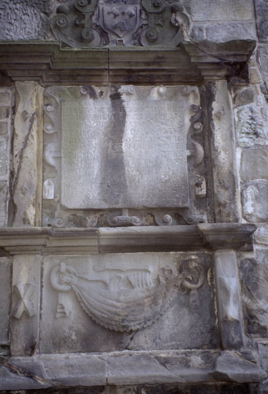 View of the mural monument to William Preston d. 1657, showing skeleton in hammock, St Andrew's Cathedral Burial Ground.
