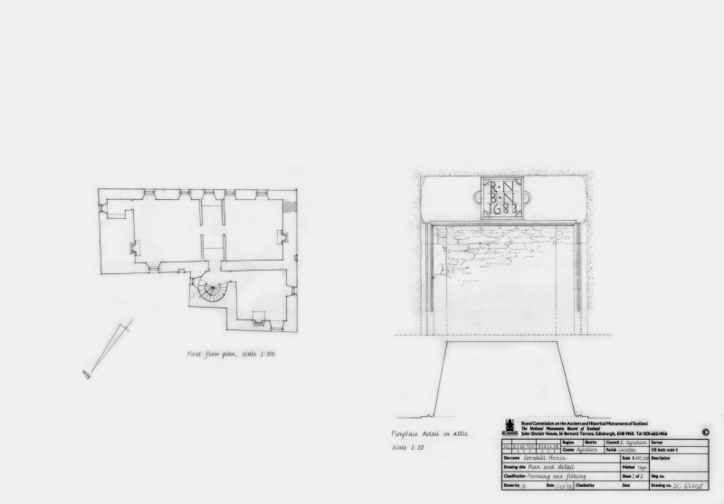 First Floor plan and Fireplace detail in Attic
