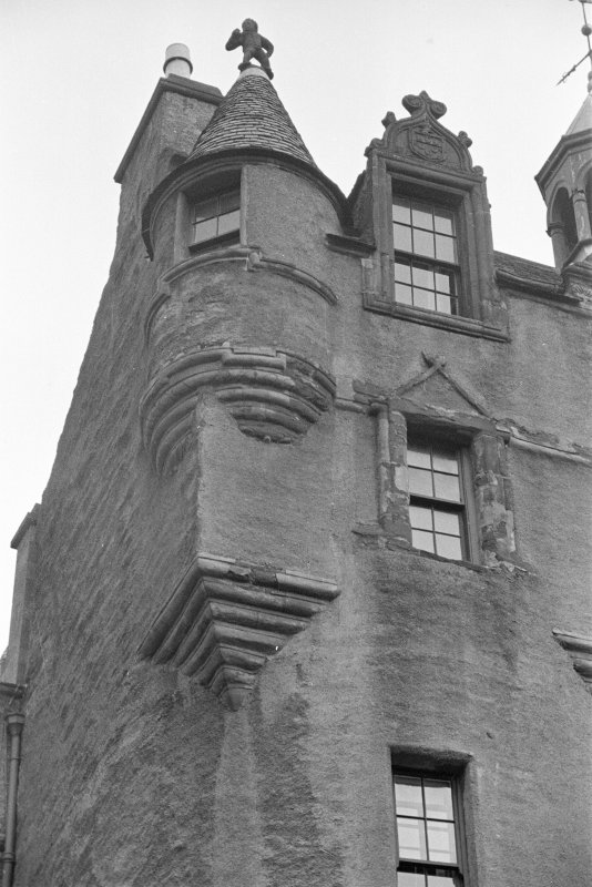 Fyvie Castle. Detail of corbel courses on facade.