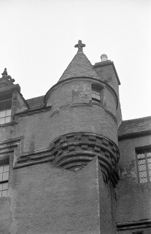 Fyvie Castle. Detail of corbel course on facade.