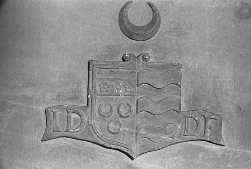 Fyvie Castle. View of armorial plaque on stair.