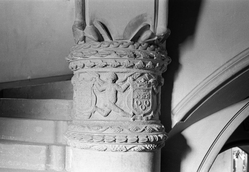 Fyvie Castle. View of decoration on newel near base of stair.