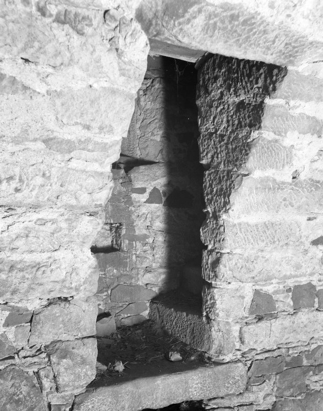 Braikie Castle. Interior. Detail of bottom of private stair from cellar to hall.