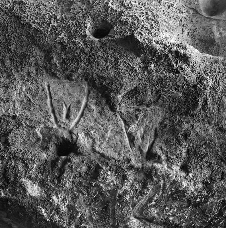 Incised 'shields' on SE wall, King's Cave, Arran.