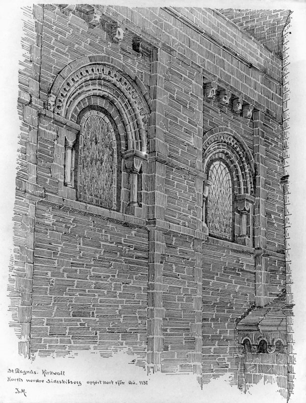 Photographic copy of drawing showing choir windows.